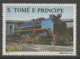 "Sao Tomé E Principe 1987 Mi 1018 ** ""Mikado 2413"" Steam Locomotive / Dampflokomotive - Treinen"
