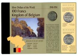 1949 Belgium Commemorative Silver 100 Francs Coin Card - 06. 100 Francs