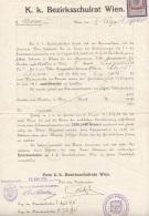 Dokument 1915 - 50 Heller Steuermarke Auf K.u.K.Dokument Des Bezirksschulrat Wien, Dokument A3 Format, Gefaltet - Historische Dokumente
