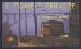 Sao Tomé E Principe 1988 B 177 - Mi 1042 ** Tram / Straßenbahn / Tramwat / Elétricos Do Porto - LUBRAPEX '88 - Tram