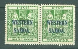Samoa: 1945/53   Postal Fiscal 'Western Samoa' OVPT  SG208    5/-    MNH Pair - Samoa