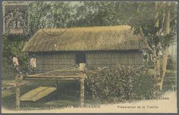 Br Tahiti: 1905. Picture Post Card Addressed To France Of 'Preparation De Ia Vanille' Bearing Oceanie Y - Tahiti