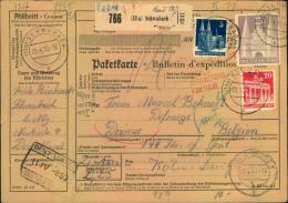1950, Komplette Paketkarte Mit 2 DM Bauten Sowie 5 Und 20 Pfg (diese Eckrund) Ab (13a) SCHWABACH. - Bizone