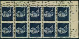 1950, 5 Mark Pieck Im Gestempelten 10-er-Block (Rollenstempel) Mit Druckvermerk. - DDR
