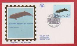 Enveloppe Premier Jour  / Baleine Bécune De Cuvier / Monaco  / 15-2-93 - FDC