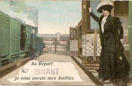 Au Départ  De DINANT Je Vous Envoie Mes Amitiés. Trains. - Souvenir De...