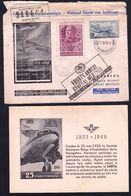 BE Aérophilatélie -- 1948 -- Vol Commémoratif Sabena -- Bruxelles - Ostende - Lympne -- Avec Encart - Flugzeuge