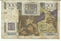 France Billet Chateaubriand 500 Cents Franc 1952 - 1871-1952 Circulated During XXth