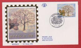 Enveloppe Premier Jour  / Hiver / Monaco  / 15-2-93 - FDC