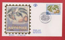 Enveloppe Premier Jour  / Automne / Monaco  / 15-2-93 - FDC