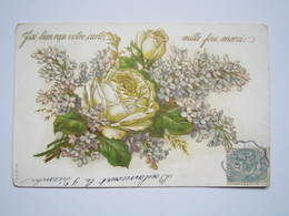 1906 DOULAINCOURT Carte Postale Gauffrée Roses Blanche Marguerite BERNARD ROMAIN Sur MEUSE (Haute-Marne) - Other Municipalities