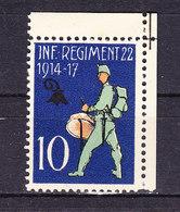 Soldatenmarke, Inf. Regiment 22, 1914-17, Ungebraucht (46182) - Labels