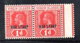 T1654 - VIRGIN ISLANDS , 1 D. Soprastampa WAR STAMP : Coppia Integra  ** - British Virgin Islands