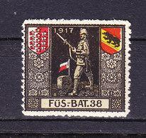 Soldatenmarke, Fues.-Bat. 38, 1917, Ungebraucht (46183) - Labels