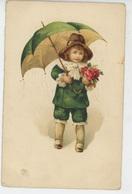 ENFANTS -  Jolie Carte Fantaisie Portrait Petit Garçon Avec Fleurs Et Parapluie - Dessins D'enfants