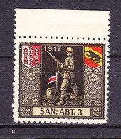 Soldatenmarke, San.-Abt. 3, 1917, Ungebraucht (46185) - Labels