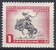 Uruguay 1954 Brauchtum Tradition Pferdezähmung Reiter Reiten Riding Pferde Horses Gauchos, Mi. 777 ** - Uruguay