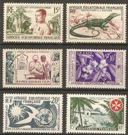 AEF 1950/7 N° 227-230-231-236/7-245 ** Neufs MNH  Oeuvres Sociales Cureau Varan Café Malte Droits De L'homme Colombe - A.E.F. (1936-1958)