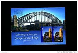AUSTRALIA - 2007 SYDNEY HARBOUR BRIDGE MS OVPT SYDNEY STAMP EXPO IN SILVER MINT NH - Blocchi & Foglietti