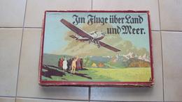 GERMANIA AUSTRIA GIOCO DELL'OCA AEREO AVIAZIONE IM FLUGE UBER LAND UND MEER 1916 CIRCA VEDI TUTTE LE FOTO - Group Games, Parlour Games