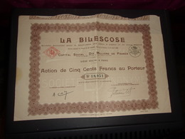 LA BILESCOSE Fabrication Des Pates A Papier (1931) - Shareholdings