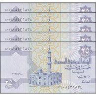 TWN - EGYPT 57p - 25 Piastres 28.12.2008 DEALERS LOT X 5 UNC - Egitto