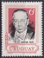 Uruguay 1969 Geschichte Persönlichkeiten Politiker Politician Präsident President Baltasar Brum, Mi. 1141 ** - Uruguay