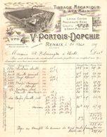 Facture Portois-Dopchie Tissage Mécanique Renaix(Ronse) 1915 Pour Thielt(Tielt) VF49 - Textile & Clothing