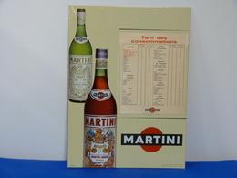 """Plaque En Métal """"MARTINI"""" Tarif Des Consommations. - Marque"""