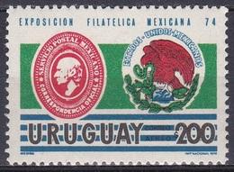 Uruguay 1974 Postwesen Philatelie Briefmarkenausstellung EXFILMEX Mexiko Mexico Wappen Arms, Mi. 1323 ** - Uruguay