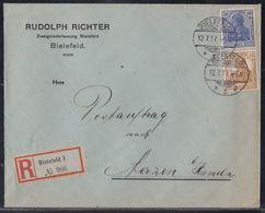 DR R-Brief Postauftrag Mif Minr.87II,100 Bielefeld 12.7.17 Gel. Nach Aerzen - Briefe U. Dokumente