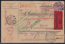 DR Paketkarte Eilbote über 1 Sack Gewicht 24,9 Kg Mif Minr92, 95, 2x 96 Cöln 22.5.15 Gel. In Schweiz Seltene Karte !!!!! - Briefe U. Dokumente