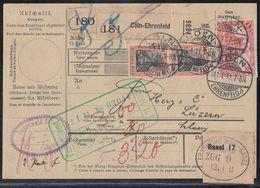 DR Paketkarte über 2 Pakete Mif Minr.2x 89I,94 Cöln-Ehrenfeld 11.1.11 Gel. In Schweiz - Briefe U. Dokumente
