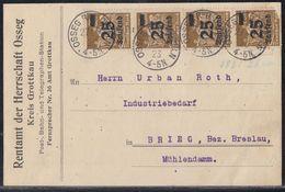 DR Karte Mef Minr.4x 283 Osseg R.B. Oppeln 27.9.23 - Deutschland