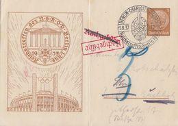 DR Privat-GS Minr.PP122 C53 SST Berlin 1.8.37 Reichstreffen Berlin Nachgebühr - Briefe U. Dokumente
