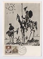 CARTE MAXIMUM CM Card USSR RUSSIA Literature Spain Cervantes Don Quichotte Horse Painting Picasso Spain - Cartes Maximum