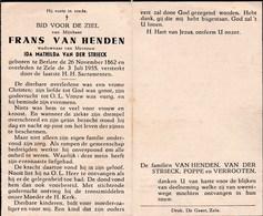 Frans VAN HENDEN, Weduwnr Van Ida Mathilda VAN DER STRIECK - ° Berlare 1862 - † Zele 1955 - Andachtsbilder