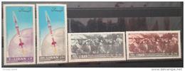 11 Lebanon 1964 Mi 878-881 21st Anniv Independence - Complete Set MNH - Arz Rocket - Battle Scene - Lebanon