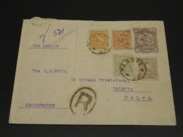 Iran 1899 Registered Stationery Cover To Malta Via Germany Fold *8665 - Iran