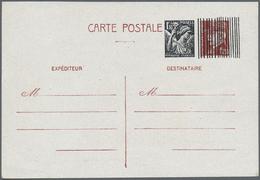 "GA Frankreich - Ganzsachen: 1944, Card 1.20fr. Petain With Overprint ""1.30fr. Iris-Republique Francaise - Postal Stamped Stationery"
