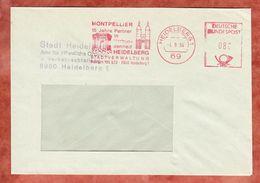 Brief, Absenderfreistempel, Montpellier Partner Heidelberg, 80 Pfg, 1984 (46225) - Marcofilia - EMA ( Maquina De Huellas A Franquear)