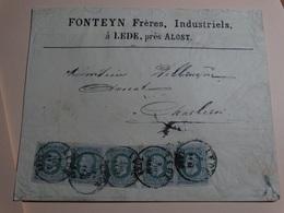 N°30 - 5x10c Vert Sur Lettre (Fonteyn Frères à Lede,prés Alost) à Partir De Lede Le 18/02/1882 Vers Charleroi - 1869-1883 Leopold II