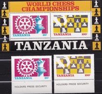 Tanzania 1986 World Chess Championship London - Leningrad MNH Set + Sheet SG 461 / 462 - Schaken