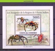 Nep019b  4 Einzelblocks FAUNA SPINNEN GELEEDPOTIGEN 'INSECTEN INSECTS' SPIDERS SPINNENTIERE COMORES 2009 PF/MNH # - Spinnen