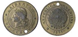 02707 GETTONE JETON TOKEN COIN ? REPUBBLICA ARGENTINA 1891 UN CENTAVOS - Tokens & Medals