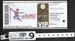 HANDBALL / MEN'S EHF EURO CROATIA 2018 / Ticket / Main Round / Sweden - France, Croatia-Norway / 20.01.2018. Zagreb - Tickets - Entradas