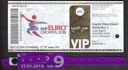 HANDBALL / MEN'S EHF EURO CROATIA 2018 / Ticket / Main Round / Serbia-France, Sweden-Belarus / 22.01.2018. Zagreb - Tickets - Vouchers