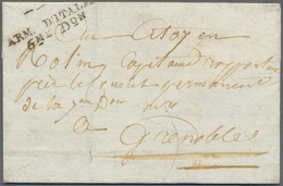 """Br Italien - Französische Armeepost: 1797, """"ARM. D'ITALIE 6 ME D.ON"""", Double Line In Black Clear On Fol - Italy"""