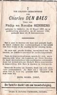 Charles DEN BAES, Zoon Van Philip En Rosalie HERSSENS - ° Jabbeke 1867 - † Jabbeke 1948 - Andachtsbilder