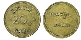 00455 GETTONE JETON TOKEN VENDING MACHINE EUROCOIN 20p LONDON - Unclassified